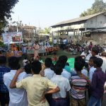 People gather to see the padayatra cart