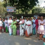 Women gather to see the padayatra
